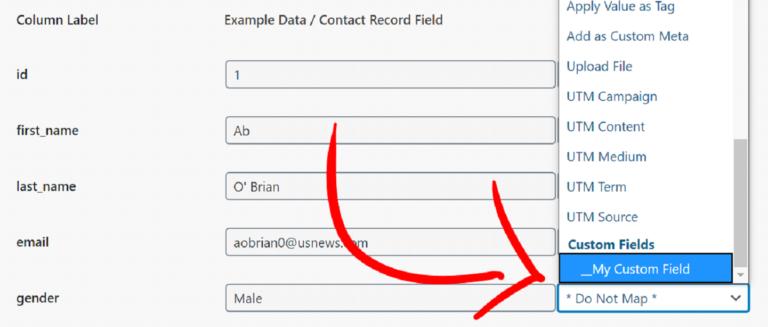 Mapping Data To Custom Fields